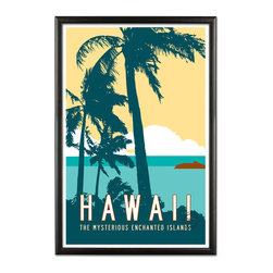 Transit Design - Vintage Hawaii Travel Poster - Inspired by vintage travel posters of a bygone era, this design captures the tropical breezes of Hawaii. Classic typography, retro style.  Original illustration signed by Michael Jon Watt.