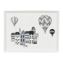 Danica Studio - Panorama Tray - Let this porcelain tray tell a story in your home. A charmingly rendered cityscape complete with hot-air balloons and bicycles makes the perfect place to hold your baubles.