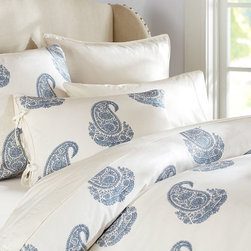 Rayna Paisley Duvet Cover, Blue - Mix up your current bedding with this blue paisley duvet for a fresh look. Use it to create a bedroom that is a calming and eclectic retreat.