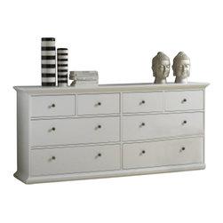 Tvilum - Tvilum Sonoma 8 Drawer Double Dresser in White - Tvilum - Dressers - 7030749 -