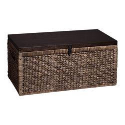 Upton Home - Upton Home Keene Blackwashed w/ Espresso Water Hyacinth Storage Trunk - Arrow weaved,blackwashed water hyacinth adds a subtle tropical feel to any room. Espresso lid highlights the blackwashed trunk and the contrast of textures between the wood grain and water hyacinth. Use as a coffee table while storing spare blankets