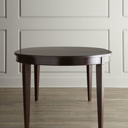 """Horchow - Allerton Table - Finely crafted of ribbon-stripe mahogany and select hardwoods, this dining table features a beautiful grain enhanced by a """"merlot mahogany"""" finish. Includes two 18""""W leaves. 68""""L x 44""""W x 30""""T; 104""""L with both leaves inserted. Imported. Boxed weight..."""