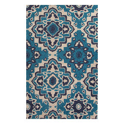 Jaipur Rugs - Moroccan Pattern Polyester Blue/Ivory Indoor-Outdoor Area Rug ( 2x3 ) - These Catalina rugs will add a pop to any outdoor space with its rich inspiration from Moroccan trellis and tile patterns.