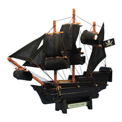 Handcrafted Nautical Decor - Calico Jack's William 7'' - SOLD FULLY ASSEMBLED--Ready for Immediate Display - Not a Model Ship kit --The famed ship of the infamous pirate Calico Jack, this delightful 7'' pirate ship model is the perfect toy gift for any child. Handcrafted from 100% solid wood, with a metal nameplate, this miniature boat rests  easily upon any desk or  shelf, and adds a touch of genuine pirate decor to any room it graces. --------    Arrives fully      assembled with      all sails mounted--    Handcrafted wooden hull and masts--    11 handsewn black cloth sails--    --    2 anchors with metal chain attached--    Metal nameplate on wooden base identifies the ship as the William 7''--