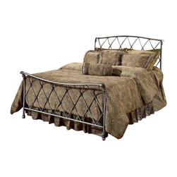 Hillsdale - Hillsdale Silverton Metal Sleigh Bed in Bronze Pewter Finish-Full - Hillsdale - Beds - 1298BFR - A subtle yet sturdy lattice design gives an airy elegance to this design perfect for any style of decor whether classic or modern. With a brushed silver finish over fully-welded construction the Silverton offers regal comfort with bold long-lasting stability.