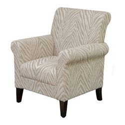 Great Deal Furniture - Percy Zebra Fabric Club Chair - The Percy Zebra Fabric Club Chair provides the relaxation you're looking for in a club chair. Soft fabric in a grey zebra design with curvy accents give you both style and comfort.