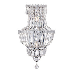 "Vienna Full Spectrum - Crystal Covelo 19"" High Crystal Wall Sconce - Gleaming and exquisite this wall sconce features clear draping beads and clear crystals that shine when illuminated. A chrome finish completes the look. Clear glass floral accents add a delicate touch. From Vienna Full Spectrum™. Covelo wall sconce. From Vienna Full Spectrum™. Chrome finish. Clear crystal with clear beads. Floral accents. Two maximum 40 watt or equivalent candelabra base bulbs (not included). 15 3/4"" high. 11"" wide. Extends 6 3/4"" from the wall.  Covelo wall sconce.  From Vienna Full Spectrum™.  Clear crystal with clear beads.  Chrome finish.  Floral accents.  Two maximum 40 watt or equivalent candelabra base bulbs (not included).  19"" high.  11"" wide.  Extends 6 1/2"" from the wall.   Backplate is 13 3/4"" high 4 3/4"" wide."