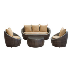 LexMod - Avo Outdoor Wicker Patio 4 Piece Sofa Set in Brown with Mocha Cushions - Lounge confidently and transform casual expeditions into life-changing accomplishments with this modern outdoor set. Entertain guests from far and near as you jump-start gatherings and transcend starting points of engagement. Absorb true relaxation and merge with the moment into a private seating occasion to remember.