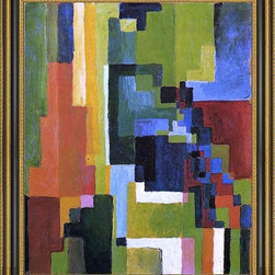 """Art MegaMart - August Macke Colored Forms II - 16"""" x 20"""" Framed Premium Canvas Print - 16"""" x 20"""" August Macke Colored Forms II framed premium canvas print reproduced to meet museum quality standards. Our Museum quality canvas prints are produced using high-precision print technology for a more accurate reproduction printed on high quality canvas with fade-resistant, archival inks. Our progressive business model allows us to offer works of art to you at the best wholesale pricing, significantly less than art gallery prices, affordable to all. This artwork is hand stretched onto wooden stretcher bars, then mounted into our 3 3/4"""" wide gold finish frame with black panel by one of our expert framers. Our framed canvas print comes with hardware, ready to hang on your wall.  We present a comprehensive collection of exceptional canvas art reproductions by  August Macke ."""