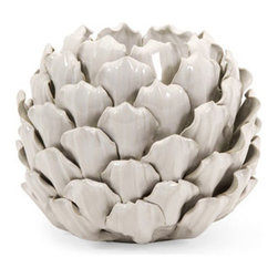 Camilla Artichoke Candle Holder - Tall - It's nice when a room lights up, even when the candles are out. Simply place a small pillar candle in this artichoke candle holder and transform a room into a romantic space. Textured and versatile enough to use at the table, in the kitchen, or on the entryway console, this piece reminds us of spring buds and summer harvests in any season of the year.