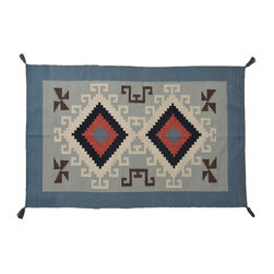 Area Rug, 4'X6' Navajo Design Flat Weave Hand Woven 100% Wool Rug SH7865 - Soumaks & Kilims are prominent Flat Woven Rugs.  Flat Woven Rugs are made by weaving wool onto a foundation of cotton warps on the loom.  The unique trait about these thin rugs is that they're reversible.  Pillows and Blankets can be made from Soumas & Kilims.