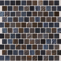 "Susan Jablon Mosaics - Blue And Brown Slate Tone Recycled Glass Tile - This glass tile blend is 1"" tiles, offset 100% recycled glass tiles made from crushed car windshields. Slate grey and slate brown glisten and sparkle softly and perfectly. Mix with your light, brown, gray or black toned counter top for a sophisticated solution.It is very easy to install as it comes by the square foot on mesh and it is very easy to clean! About a decade ago, Susan Jablon re-ignited her life-long passion for mosaics and has built a customer-focused, artist-driven, business offering you the very best in glass and decorative tiles and mosaics. We are a glass tile store committed to excellence both personally and professionally. With lines of 100% SCS Qualified recycled tile, 12 colors and 6 shapes of mirror, semi precious turquoise stones from Arizona mines, to color changing dichroic glass. Stainless steel tiles in 8mm and 4mm and 12 designs within each, and anything you can dream of. This blend features, espresso, caramel, and slate colored tiles. 100% recycled glass tiles glisten richly."
