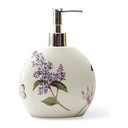 Blonder Home Expressions Etude de Fleur Lotion Pump - Banish that tacky plastic liquid soap dispenser forever. Buy large quantities of the stuff and use it to fill this gorgeous lilac dispenser.