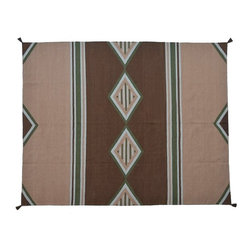 Flat Weave Area Rug, Navajo Design Desert Style 8'X10' Hand Woven Rug SH8170 - Soumaks & Kilims are prominent Flat Woven Rugs.  Flat Woven Rugs are made by weaving wool onto a foundation of cotton warps on the loom.  The unique trait about these thin rugs is that they're reversible.  Pillows and Blankets can be made from Soumas & Kilims.
