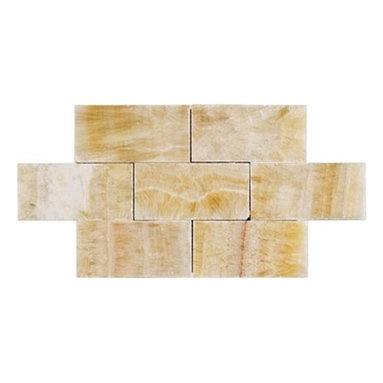 Honey Polished Bricks Pattern Mesh-Mounted Onyx Tiles - 3 in. x 6 in. Honey Mesh-Mounted Bricks Pattern Onyx Mosaic Tile is a great way to enhance your decor with a traditional aesthetic touch. This polished mosaic tile is constructed from durable, impervious onyx material, comes in a smooth, unglazed finish and is suitable for installation on floors, walls and countertops in commercial and residential spaces such as bathrooms and kitchens.