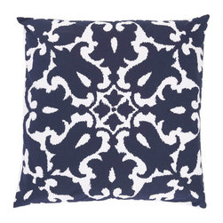 "Allem Studio - Allem Studio Sindoor Navy Pillow - On-trend ikat style updates the Sindoor throw pillow's oversize damask pattern with modern flair. Sophisticated in navy blue and white, this contemporary design by Allem Studio lends casual elegance. 20""W x 20""H; 100% cotton; Solid white reverse; Hidden zipper closure; Feather pillow insert included; Machine wash"