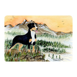 Caroline's Treasures - Entlebucher Mountain Dog Kitchen or Bath Mat 24 x 36 - Kitchen or Bath Comfort Floor Mat This mat is 24 inch by 36 inch. Comfort Mat / Carpet / Rug that is Made and Printed in the USA. A foam cushion is attached to the bottom of the mat for comfort when standing. The mat has been permanently dyed for moderate traffic. Durable and fade resistant. The back of the mat is rubber backed to keep the mat from slipping on a smooth floor. Use pressure and water from garden hose or power washer to clean the mat. Vacuuming only with the hard wood floor setting, as to not pull up the knap of the felt. Avoid soap or cleaner that produces suds when cleaning. It will be difficult to get the suds out of the mat.