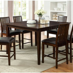 Furniture of America - Furniture of America Alliani 7-Piece Counter Height Dining Table Set - Walnut Br - Shop for Dining Sets from Hayneedle.com! Create a casual conversation area with this Furniture of America Alliani 7-Piece Counter Height Dining Table Set Walnut. This set includes a counter height dining table and six coordinating side chairs. Simple lines slightly tapered legs and a decorative veneer tabletop create contemporary appeal. The versatile walnut finish with brown faux leather upholstery ensure this set works with your decor. All pieces are crafted of solid wood and veneers. The six chairs feature generous contoured seats upholstered in brown faux leather. The slat back design adds a mission feel.About Furniture of AmericaFurniture of America has over 20 years experience in the furniture industry. They have facilities in California Georgia and New Jersey. Furniture of American strives to provide a comprehensive selection of home furniture at competitive prices. They feature a wide variety of bedroom collections youth furniture dining room sets upholstery living room furniture accents upholstery and more. Furniture of America offers more value for less always!