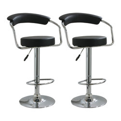 Buffalo Tools - AmeriHome 2 Piece Adjustable Height Bar Stool Set - 2 Piece Adjustable Height Bar Stool Set by AmeriHome This AmeriHome 2 Piece Adjustable Height Bar Stool Set includes two retro style, adjustable height black vinyl bar stools. This 2-piece bar stool set is reminiscent of the days of diners and drive-ins, and features a polished chrome base and a black vinyl seat and back rest for a hint of vintage retro style.  Designed for maximum comfort, each bar stool features a large 13.5 inch wide, padded, 360 degree swivel seat, a padded vinyl back, a built in footrest and an adjustable seat height of 25 to 33.5 inches, which makes this set comfortable for kids and adults to sit together.  Includes 2 retro style, adjustable height black vinyl bar stools Adjustable seat height from 25 to 33.5 in. Max seat back height 42.25 in. 13.5 in. vinyl padded 360-degree swivel seat 330 lbs weight capacity each