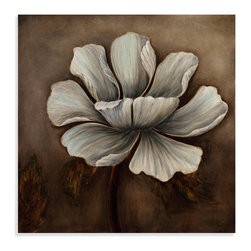 Bassett Mirror - Bassett Mirror Hand-Painted Canvas, Translucent Flower - This large and vivid oil painting of this striking white flower invites the beauty of nature into your home. Its rich white tints will play with the light sources in a dark room and add depth to those large hard-to-decorate walls.