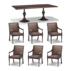"""Frontgate - Berkeley 7-pc. Outdoor Dining Set with Rectangular Table, Patio Furniture - Classic, concealed cushion seating. Handwoven of high quality resin wicker. Corrosion-resistant aluminum frames. Frames and tabletops finished to resemble dark walnut. Bronze-shaded wicker. There's more to Berkeley than a beautiful dining collection. The cast-aluminum dining tables are hand-finished to resemble planks of dark walnut, a finish that complements most of our bronze-shaded wicker furniture collections. Shapely pedestal bases support the tabletops. On the dining chairs, a hidden core of 2"""" thick reticulated foam increases the comfort of the woven seat and back. After a rain shower, water drains quickly through the concealed foam cushion and perforated stainless steel frame. Classically styled arms and fluted, cast-aluminum legs define Berkeley's cast aluminum chair frame. . . . . . Rectangular dining table with 2"""" umbrella hole and cap. Assembly required on Messina dining tables."""
