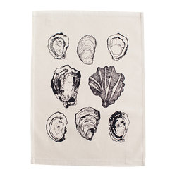 Ortolan - Oyster Tea Towel - The winter months are the perfect time to dine on oysters, compliment your kumamotos with our hand illustrated tea towel.