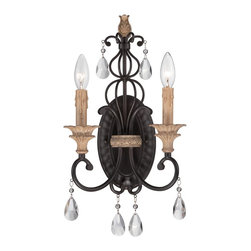 Designers Fountain - Designers Fountain 85302-DA 2 Light Wall SconceBella Maison Collection - Evocative of Parisian vintage styles, the Bella Maison collection is a commitent to time honored craftsmanship wit sculpted metal, carved accents, and crystal drops. Candle lighting illuminates the luster of the faux aged reclaimed wood accents. Finish is Natural Iron wit Distressed Ash faux wood accents.