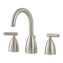 Price Pfister - Price Pfister GT49-NK00 Contempra Double Handle High-Arch Widespread Lead Free B - Price Pfister GT49-NK00 Contempra Double Handle High-Arch Widespread Lead Free Bathroom Faucet in Brushed Nickel Featuring sweeping curves and sleek, modest lines, this high-arc spout rises gracefully over the sink for accessibility and modern style. The full-bodied metal lever handles are strong and durable. It is WaterSense certified with a 1.5 GPM flow rate to conserve water without compromising your water experience.Price Pfister GT49-NK00 Contempra Double Handle High-Arch Widespread Lead Free Bathroom Faucet in Brushed Nickel , Features:• 2-handle lever design for ease of use