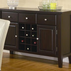 Coaster - Carter Buffet Server - Contemporary style. Three drawers. Two doors. 12 bottle wine storage rack. Straight block legs. Clean straight edges. Silver knob pull hardware. Dark brown finish. 52 in. W x 18 in. D x 36 in. H. WarrantyCreate that extra bit of storage, done in a classy style with this buffet style server.