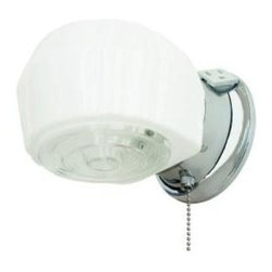Progress Lighting Chrome 1-light Vanity Fixture - Traditional light fixture with white and clear ribbed glass. Pullchain switch and grounded convenience outlet included.