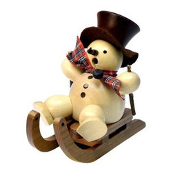 Natural Snowman on a Sled Smoker - You'll love having the Natural Snowman on a Sled Smoker in your home this holiday season. From is classic black hat and bright scarf to the three buttons down his front this snowman is fun and merry. Crafted from natural wood and painted in warm colors that match any decor this snowman is also an incense burner so you can bring your favorite scents to your home this season.About Alexander Taron Inc.For more than half a century the Taron Company has been delighting customers and collectors with traditional European gifts. These exquisite hand-crafted products range from nutcrackers and incense burners to ornaments and cuckoo clocks; unique and collectible they make unforgettable gifts regardless the occasion. Originally founded in 1949 Alexander Taron remains dedicated to providing high-quality items at great value.