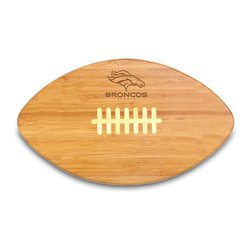 """Picnic Time - Denver Broncos Touchdown Pro Cutting Board in Natural Wood - The Touchdown! cutting board is a 15"""" x 8.75"""" x 0.75"""" board made of eco-friendly bamboo with a standard football design, with 123 square inches of cutting surface. It can be used as a cutting board or serving tray, or use both sides of the board, one for cutting and the other for serving. The backside of the board is solid dark bamboo. Go long...for the Touchdown! Decoration: Engraved"""