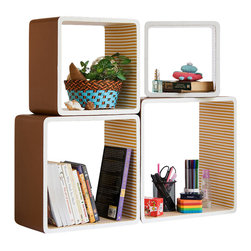 Blancho Bedding - [SaddleBrown & Orange Strip]Square Leather Bookshelf / Floating Shelf (Set of 4) - These rounded corner wall cube shelves add a new and refreshing element to your room and can be easily combined with other pieces to create a customized wall space. Coming in various colors and sizes, they spice up your home's decor, add versatility, and create a whole new range of storage spaces. You can hang them on the wall, or have them stand on table or floor, any way you like. Fashion forward design has never been so functional. This range of faux leather storage cubes is sure to delight! Perfect for wall mounting, these modern display floating shelves are sure to delight. Constructed from MDF with a top faux leather wrapping. Easy to mount, easy to love! Attractive shelf boxes give any wall in your home a striking appearance. Arrange in whatever fashion you like - whether it be grouped together or displayed separately. Each box serves as a practical shelf, as well as a great wall decoration.