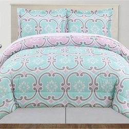 None - Mint 3-piece Comforter Set - Add charm to your bedroom decor with the lovely mint comforter set. Made from 100-percent polyester, this comforter is mid weight for year round use.