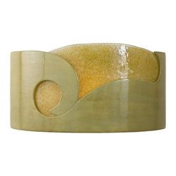 A19 Lighting - Ripcurl Modern Wall Sconce Sagebrush and Moss - This Crescent Shaped Horizontal Sconce Washes The Wall With Light From The Top And Bottom While Illuminating The Arresting Wave Of Colored Frit Glass Framed By The Bold Curving Lines Of The Glazed Ceramic Base.Height:7