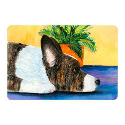 Caroline's Treasures - Corgi Kitchen or Bath Mat 24 x 36 - Kitchen or Bath Comfort Floor Mat This mat is 24 inch by 36 inch. Comfort Mat / Carpet / Rug that is Made and Printed in the USA. A foam cushion is attached to the bottom of the mat for comfort when standing. The mat has been permanently dyed for moderate traffic. Durable and fade resistant. The back of the mat is rubber backed to keep the mat from slipping on a smooth floor. Use pressure and water from garden hose or power washer to clean the mat. Vacuuming only with the hard wood floor setting, as to not pull up the knap of the felt. Avoid soap or cleaner that produces suds when cleaning. It will be difficult to get the suds out of the mat.