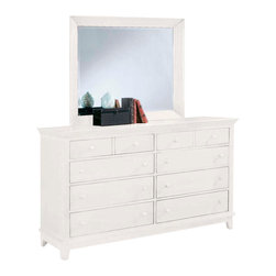 American Drew - American Drew Sterling Pointe Triple Dresser with Mirror in White - Sterling Pointe, from American Drew, is a collection of bedroom furniture with simple lines, but spectacular possibilities. Sterling Pointe is a versatile group that can easily capture any lifestyle and work in any setting. The collection can go from urban chic to country cottage, from transitional to coastal, and all personal styles in between! Sterling Pointe is offered in four popular colors; Black, white, cherry and maple. All case pieces come with matching color hardware and polished chrome finish hardware for even more personalization. In addition, the black and White colored case pieces have the option to customize the tops in either Cherry or Maple colors. When you choose this option, you get hardware in the matching case color, matching top color and polished chrome finish. The three bed styles are offered in multiple sizes to fit any room and setting. This is the perfect collection for that condo or town home, second bedroom or second home. Sterling Pointe has a timeless appeal that can adapt and last a lifetime. Sterling Pointe will capture the essence of your personal style.