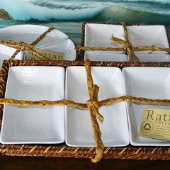 tropical serveware Tropical Rattan and Ceramic Serveware