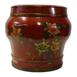 Golden Lotus - Chinese Red Color Floral Round Wood Bucket - This is an old round wood bucket with new paint. It is a charm oriental decorative piece for home. ( hand-painted item, there is variation in graphic )