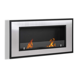 "Ignis - Bellezza Wall Mounted / Recessed Ventless Ethanol Fireplace - Inject a bold modern look to your space with this Bellezza Recessed Ventless Ethanol Fireplace. Designed to look sleek and streamlined, this fireplace is perfect for a contemporary room. It has a large stainless steel frame that is trimmed in black to create a vibe that is posh and sophisticated. This ventless fireplace needs no gas or electric lines, and does not require you to install a chimney. It burns clean and warm, with a dual burner system that produces 12,000 BTUs of toasty, welcoming heat. It comes with damper tool and everything you need to mount it right away, so you can start enjoying it faster. Dimensions: 47.25"" x 23.75"" x 6.75"". Features: Ventless - no chimney, no gas or electric lines required. Easy or no maintenance required. Easy Installation - Can be mounted directly on the wall or recessed (mounting brackets included). Capacity: 1.5 Liters per Burner. Approximate burn time - 5 hour per Burner per refill. Approximate BTU output - 6000 per Burner (Total BTU - 12000)."