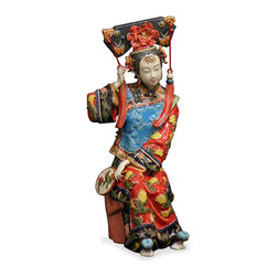 China Furniture and Arts - Chinese Porcelain Doll - Seen in this porcelain statue, the silk fan is one of the often-carried accessories of Chinese women. Her lively expression and vibrant colored garments allow the viewer to relate on a more personal level. Hand crafted of fine porcelain from China.
