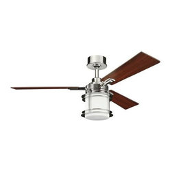 "Kichler - 52"" Pacific Edge 52"" Ceiling Fan Polished Nickel - Kichler 52"" Pacific Edge Model KL-300157PN in Polished Nickel with Reversible Walnut/Cherry Finished Blades."