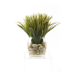 D&W Silks - D&W Silks Wild Grass in Round Glass Dish - Life-like wild grass sits in polished river rock and faux water, creating an eye-catching and naturally stylish piece that would be great for any home or office. Comes preassembled as pictured with a glass dish vase, this piece will keep it's color and shape for years to come without any watering or sunlight necessary.