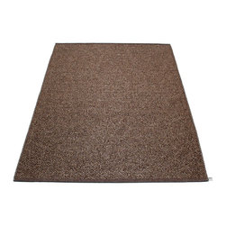 Pappelina - Svea Metallic Brown & Dark Brown Rug - This outdoor rug from Pappelina contains a basic geographic pattern. It uses PVC-plastic and polyester-warp to give it ultimate durability and clean-ability. Great for decks, bathrooms, kitchens and kid's rooms.