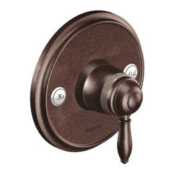 """Moen - Moen TS32110ORB Oil Rubbed Bronze Weymouth Single Handle ExactTemp - Single Handle Thermostatic Valve Trim Only with Metal Lever Handle from the Weymouth CollectionElegant, traditional design details and distinctive finishing touches present a sense of uncommon luxury in the Weymouth collection. Distinctive accents include porcelain inlays that feature Euro influenced decorative script and signature styling elements.From finishes that are guaranteed to last a lifetime, to faucets that perfectly balance your water pressure, Moen sets the standard for exceptional beauty and reliable, innovative design.Features:Lever design for ease of useLifeShine finish guaranteed not to tarnish, corrode or flake offExactTemp thermostatic valve allows for pinpoint temperature controlM-PACT common valve systemMetal constructionFlow lever operates counterclockwise through a 90 degrees arc with shut off at 6 o clock and maximum flow at the 3 o clock positionShut off in clockwise directionTemperature lever operates through a 340 degrees arc with maximum cold at full clockwise rotation and maximum hot at full counterclockwise rotationSafety stop preset temperature at 105 degrees F (41 degrees C)Safety stop override allows maximum temperature at 120 degrees F (49 degrees C)Factory established temperature range from 70 degrees F (21 degrees C) to 120 degrees F (49 degrees C)For use with S3371, 3/4 thermostatic valve and S3600, volume control valveMade in: ChinaLifetime limited warranty against leaks, drips and finish defects to the original consumerStandards:ASME A112.18.1CSA B-125.1ASSE 1016ADA CompliantSpecifications:Cartridge type: ceramic diskConnection size: 3/4""""Connection type: IPS"""