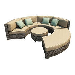 Forever Patio - Hampton Radius 4 Piece Outdoor Sectional Set, Heather Wicker and Tan Cushions - The Forever Patio Hampton Radius 4 Piece Modern Patio Sectional Set with Tan Sunbrella cushions (SKU FP-HAMR-4SEC-HT-BE) creates a look that is sure to impress. The set seats 6 to 7 adults comfortably, and features Heather resin wicker, which is made from High-Density Polyethylene (HDPE) for outdoor use. Each strand of this outdoor wicker is infused with its natural color and UV-inhibitors that prevent cracking, chipping and fading ordinarily caused by sunlight, surpassing the quality of natural rattan. Each piece features thick-gauged, powder-coated aluminum frames that make the set extremely durable. Also included with this curved sectional sofa set are fade- and mildew-resistant Sunbrella cushions. The deep-seated design of the Hampton collection combined with plush cushions makes this round patio sofa set as comfortable as an indoor sectional, but designed for the outdoors!