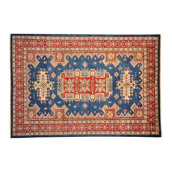 1800-Get-A-Rug - Super Kazak Oriental Rug Hand Knotted Rug Denim Blue Sh13408 - About Tribal & Geometric