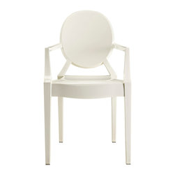 IFN Modern - Ghost Style Armchair-White - Philippe Starck, the French product designer was born in Paris in 1949. With regards Furniture, he is famous for his designs that are made from polycarbonate plastic. Unlike most other New Design artists, Starcks work does not concentrate on creating provocative and expensive single pieces. His products and furnishings are often stylized, streamlined and organic in their look and are also constructed using unusual combination of materials. The Signature Ghost Chair presents a unique mix of creativity and sturdiness. The chairs are durable, can be stacked and are great for both outdoor and indoor use. The Ghost Chair almost disappears into the background as if to faintly impose its distinguishing design element into the room.