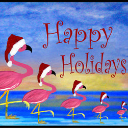 USA - Santa Flamingo Family, 36x60 - Durable 20 0z. tight loop carpet with non skid rubber backing and a black edge binding. My art images are permanently applied by dye sublimation and wash with mild soap and water. Rugs are approx. 3/8 inch thick.