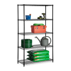 Honey Can Do - Five Tier Black Storage Shelves - 800Lb - Adjustable, modular. 800 lb capacity. 18 in.x 4 in. x 72 in.